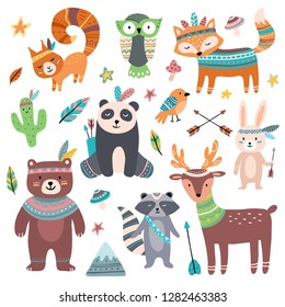 Cute tribal animal. Forest wild animals zoo, tribals bird feather arrows and wilds beast. Squirrel, fox and deer woodland forest brave hunting animal character isolated cartoon icons set