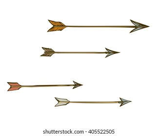 Cute tribal sharp boom arm shaft set isolated on white backdrop. Freehand outline ink hand drawn symbol line picture sketchy in art scribble retro style pen on paper. Closeup view with space for text