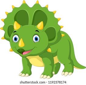 Cute Triceratops Cartoon Dinosaur