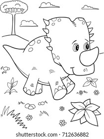 Cute Triceratops Dinosaur Vector Illustration Art