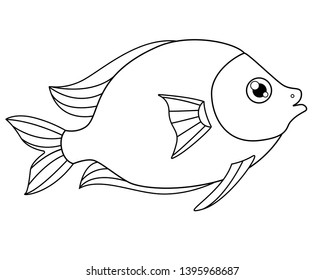 Cute tropical fish - a picture for coloring. Vector linear fish - animal design element. Aquarium fish - pet. Outline.  hand drawing