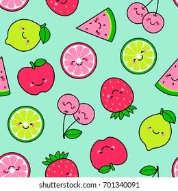 Cute tropical fruit cartoon illustration seamless pattern background