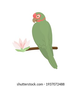 Cute Tropical parrot  with exotic flower. Exotic green bird. Trendy Cartoon Vector illustration. Isolated on white. Good for web and print