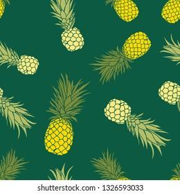 Cute tropical pineapple seamless pattern design