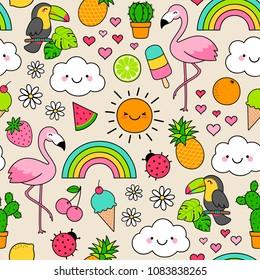 Cute tropical summer elements cartoon seamless pattern background