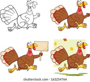 Cute Turkey Cartoon Character. Vector Collection Set
