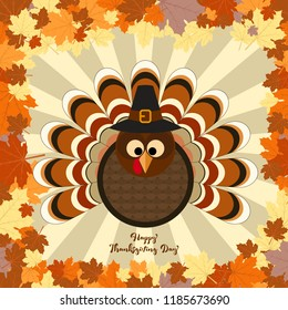 Cute turkey in Thanksgiving present card. Vector Illustration
