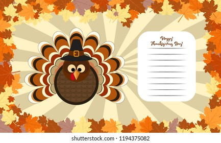Cute turkey in Thanksgiving present card with place for text. Vector Illustration