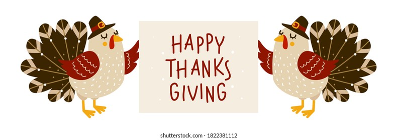 Cute turkeys with Thanksgiving greeting card isolated on white