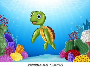 Cute Turtle with beautiful underwater world