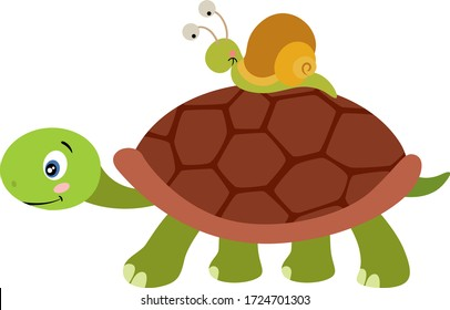 Cute turtle carrying a snail on carapace