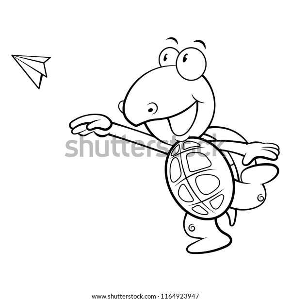 Cute Turtle Flying Paper Plane Coloring Stock Vector Royalty Free