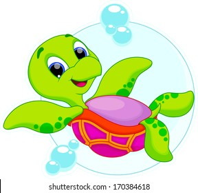 cute turtle is swimming upside down