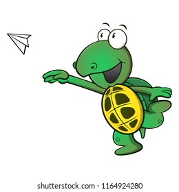Cute Turtle throw a paper plane cartoon vector