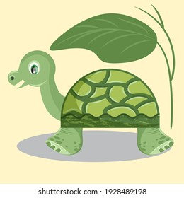 Cute turtle under a green leaf. Vector illustration.