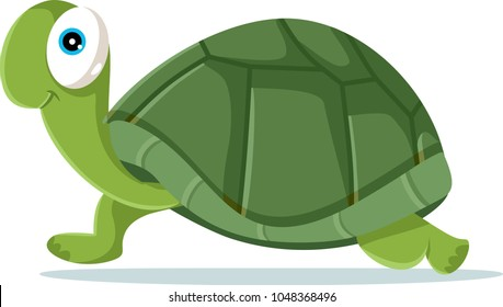 Cute Turtle Vector Cartoon Illustration. Funny green adorable wise tortoise walking