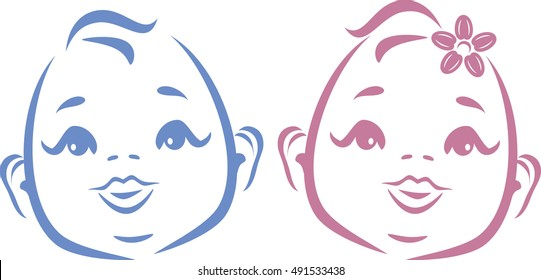 Cute twins. Outline drawing. Vector