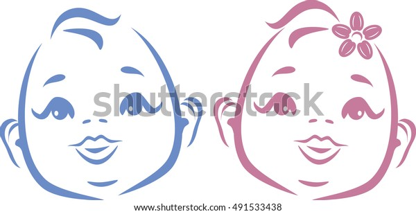 cute-twins-outline-drawing-vector-600w-4