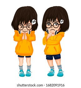 Cute two Child Vector Illustration