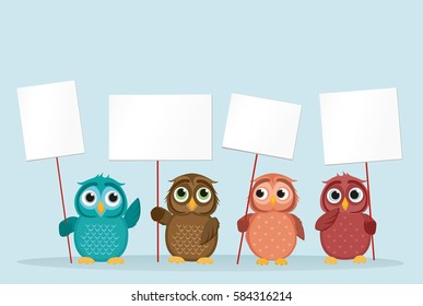 Cute two owls with sunglasses on vacation lying down on the beach by the sea and relaxing on a deck chair under an umbrella and listen to music and read books. Owlet. Postcard on holiday. Love