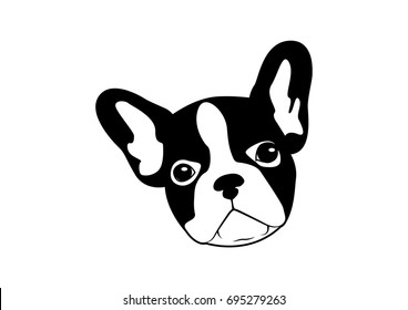 Cute Two Tone French Bulldog Black & White Logo Vector