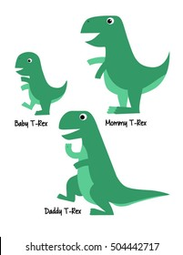 Cute Tyrannosaurus Rex Family Dinosaur Vector Illustration, Baby, Mommy, Daddy T-rex