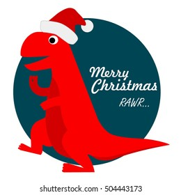 Cute Tyrannosaurus Rex Santa, Christmas Holiday Dinosaur Vector Illustration