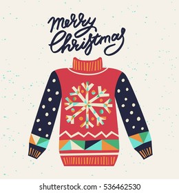 Cute ugly Christmas sweater. Sweater party clip art for invitations, greeting cards, website and mobile banners, marketing material.