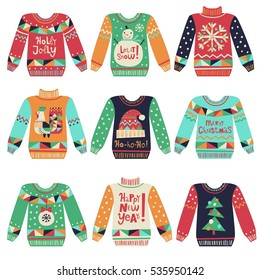 Cute ugly Christmas sweaters vector set. Sweater party clip art collection for invitations, greeting cards, website and mobile banners, marketing material.