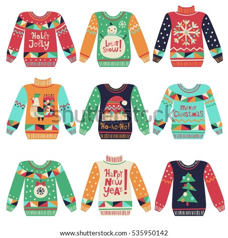 cute ugly christmas sweaters vector set sweater party clip art collection for invitations greeting - Cute Ugly Christmas Sweater