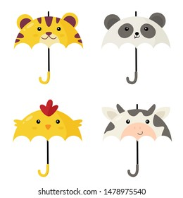 Cute umbrellas in shape of animals. Vector illustrations.