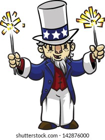 Cute Uncle Sam with sparklers - Vector clip art illustration on white background