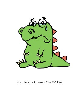 cute unhappy dinosaur. vector illustration. melancholy cartoon character.