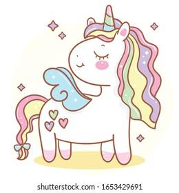 Cute Unicorn angel vector pony child cartoon, Kawaii animal horse horn character, Girly doodles Fairytales magic (Illustration): Nursery Wall, hand drawn. Perfect kid greeting card, Print t shirt.