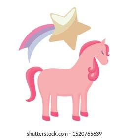 cute unicorn animal with shooting star