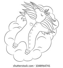 Cute Unicorn Baby Girl Sleeping On A Cloud With Beautiful Hair Wearing Romper