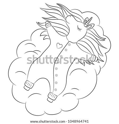 0ba887d41 Cute unicorn baby girl sleeping on a cloud, with beautiful hair baby  wearing romper,