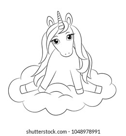 Cute unicorn baby, sitting on cloud, with nice hair mane, lovely little horse girl with beautiful eyes. Pretty pony, outline vector illustration for coloring book, poster, stamp, birthday card, etc.