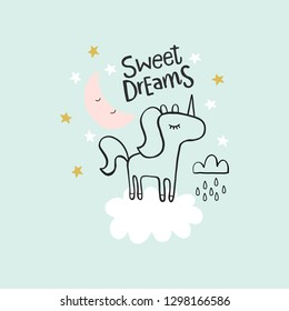 Cute unicorn background pattern for kids, baby apparel, fabric, textile, wallpaper, bedding, swaddles with unicorn