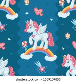 Cute unicorn background.  Unicorn seamless pattern