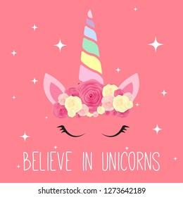 Cute unicorn background. Vector Illustration EPS10