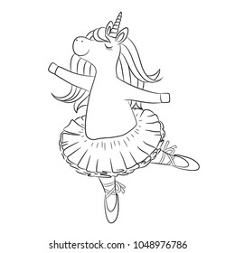 Cute unicorn ballerina dancing, with beautiful hair, baby girl wearing tutu skirt.  Little lovely pony horse, outline vector illustration for coloring book, poster, birthday invitation, card, etc.