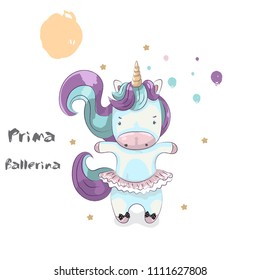 Cute Unicorn ballerina.cartoon hand drawn vector illustration. Can be used for baby t-shirt printing.