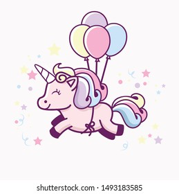 cute unicorn with balloon character logo icon design