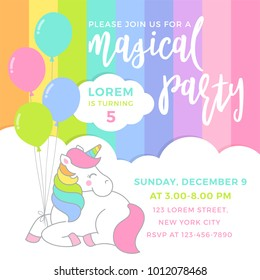 Cute unicorn with balloons illustration for party invitation card template