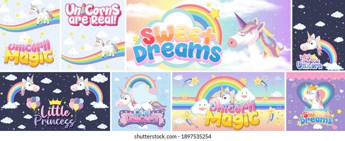 Cute unicorn banner on pastel background color illustration