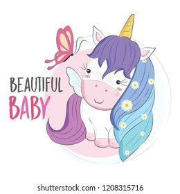 Cute Unicorn with Blue Hair Color