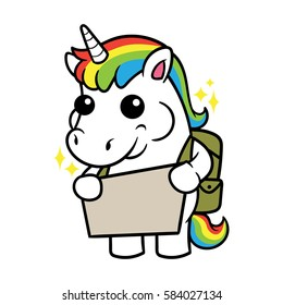 Cute Unicorn Cartoon Character Holding a Sign