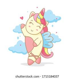 Cute unicorn cartoon illustration. Child illustration