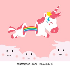 cute unicorn cartoon with pink hair and horn, the body cut by the elastic rainbow, jumping on the lovely clouds, magic cartoon fantasy, all on pink background, illustration, vector